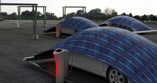 Turkish designer Haken Gursu has created the V-Tent a solar panel canopy which is charging and protecting your electric car at the same time. & Electric Car Charging with Solar Parking Tent